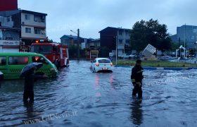 بارش شدید باران و آب گرفتگی خیابانها و معابر در رشت + تصویر